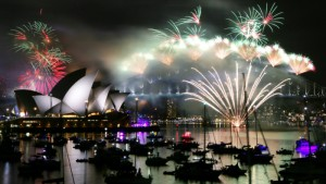Fireworks in Sydney on New Year 2015